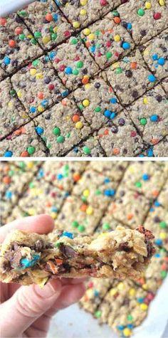 MONSTER COOKIE BARS - baked, bars, butter, chocochips, chocolate, cookie, dessert, egg, peanut, recipes, sugar, vanilla