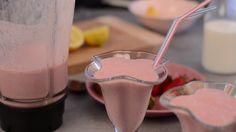 Delicious milkshake strawberries and banana, footage serving