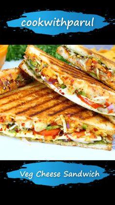 Vegetarian Fast Food, Vegetarian Sandwich Recipes, Healthy Recipes, Snack Recipes, Veg Cheese Sandwich Recipe, Veg Sandwich, Pakora Recipes, Curry Recipes, Indian Food Recipes