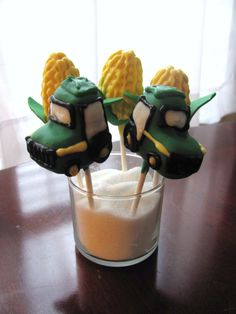Tractor and Corn Cob Cake Pops at NashvilleSweets.com