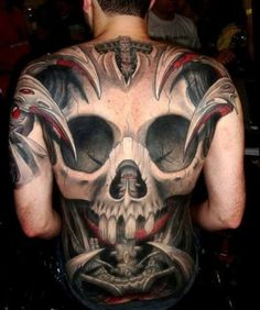 Skull tattoos are very versatile tattoo designs, and a popular skull tattoo design incorporates both skulls and roses. Tattoos that include both a skull and a rose often denote the contrast of life and death, or beauty and decay. Insane Tattoos, Scary Tattoos, 3d Tattoos, Badass Tattoos, Trendy Tattoos, Body Art Tattoos, Awesome Tattoos, Cross Tattoos, Tattoo Ink
