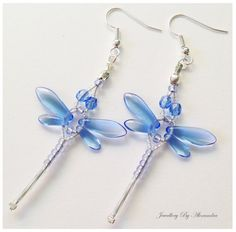 Beaded Dragonfly Earrings  Light Blue and by jewellerybyalexandra