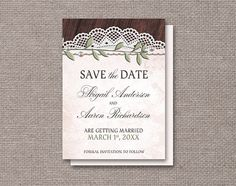 Rustic Vintage Save the Date announcements, with leaves, pearls, lace, and wood