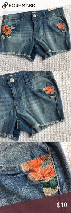 Just In! Girl's Denim Cutoff Embroidered Shorts Already priced at my lowest, thanks for understanding!   Brand: Mudd  Condition: Brand new with tags  Size: Available in sizes shown  Really embroidered! Not just a print.  Material: See material's tag photo  Retail: $32 Mudd Bottoms Shorts