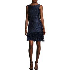 David Meister Women's Feather Hem Brocade Shift Dress - Blue, Size 10 ($269) ❤ liked on Polyvore featuring dresses, blue, boatneck dress, boat neck sleeveless dress, cocktail shift dress, brocade cocktail dress and boat neck dresses