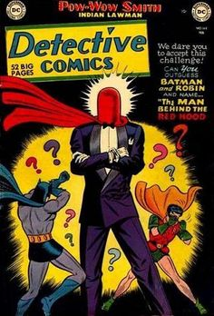 The Red Hood first appeared in Detective Comics # 168, February 1951. His identity has been reworked, but he was originally a lab worker who turned to crime.  When escaping the Batman he swam through toxic chemicals that turned his hair green and his skin white. Totally unbalanced, he became the Joker.