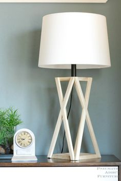 I love the geometric shape the X makes! Lean how to build this DIY, trestle style lamp.