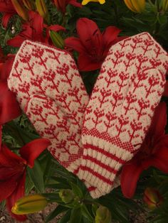 Finely Hand Knitted Estonian Mittens in Red and by NordicMittens, $68.00
