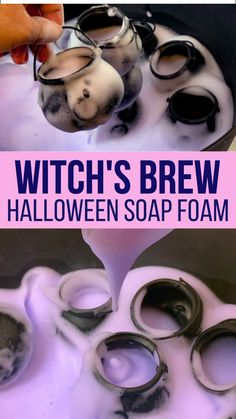 This witch's brew halloween soap foam is made from warm water, cornstarch, dish soap and food coloring. Add with some mini cauldrons to make witch's brew. Science Halloween, Halloween Activities For Toddlers, Halloween Arts And Crafts, Halloween Party Games, Theme Halloween, Diy Halloween Decorations, Halloween Diy, Quiet Toddler Activities, Halloween Theme Preschool