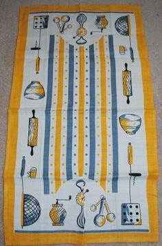 Vintage Mid Century Kitchen Utensils Towel