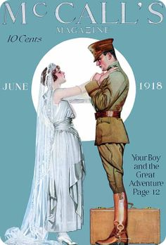 A moving and beautiful cover. McCall's Magazine, June 1918. #Edwardian #wedding #bride