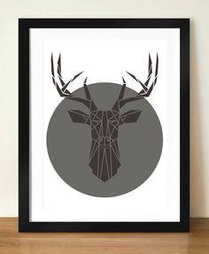 Deer Art Print Geometric Deer Head Print by Stencilize on Etsy, €4.50