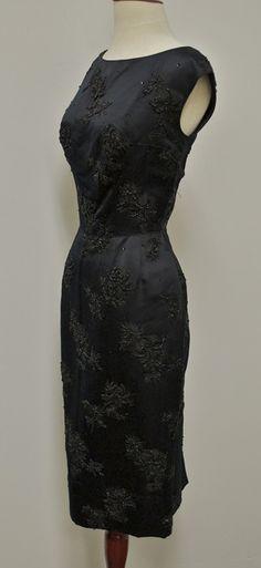 1960's Black Silk Satin Onyx Bugle Beads on Jacquard Woven Floral Design Cocktail Wiggle Dress