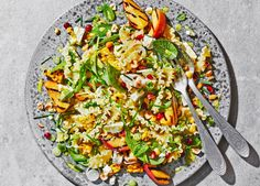 A quick vegetarian pasta salad recipe that has all the flavours of a summer – peach, pomegranate, feta cheese and toasted hazelnuts