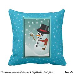 Christmas Snowman Wearing A Top Hat And Scarf Throw Pillow #snowman #christmas #pillows #homedecor #zazzle