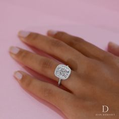 The ATHENA custom engagement ring with 5.00+ Carats Cushion Cut diamond handcrafted by Jean Dousset. #EngagementRings #Love #Weddings #CustomRings