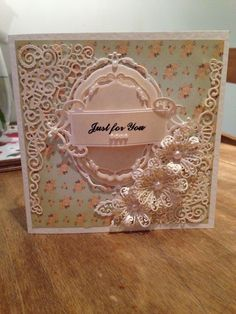 Tattered lace card using spellbinders majestic elements opulent ovals  Buy my cards at https://www.facebook.com/createdwithlovebysophiejane?ref=ts&fref=ts