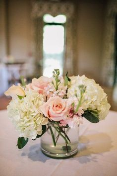Simple wedding centerpiece idea - white hydrangeas and pink rose centerpiece {Brandy Angel Photography}