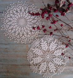2 Vintage Hand Crocheted Lace Doiles  7 Inch by PickersParadise