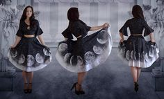 Ombre moon dress boarding school gothic doll  phases  gray ash top skirt
