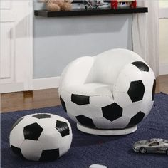 Coaster Furniture 460178 Small Kids Soccer Ball Chair and Ottoman 460178 by Coaster Home Furnishings. $136.12. Kids Furniture. If your child is a sports fanatic, then the Kids Sports Chairs collection will make a fun addition to their space. Echoing designs of basketballs, soccer balls, baseballs, and footballs, each chair comes with a complementary ottoman. Whether you're decorating your child's bedroom or playroom, create a look their friends will envy If your ch...