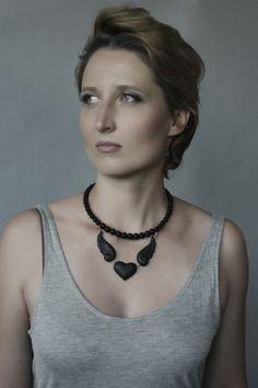 Love'n'wings. Necklace #porcelain #porcelainjewelry #rocknheartporcelain #фарфор #black #ceramicjewellery