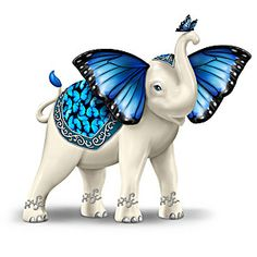 The Hamilton Collection Blue Morpho Butterfly and Elephant Collectible Hand-Painted Figurine Elephant Love, Elephant Art, Elephant Tattoos, Elephant Cushion, Happy Elephant, Elephant Sculpture, Elephant Jewelry, African Elephant, Morpho Butterfly
