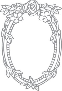 Glass etching stencil of Rose and Oval Frame. In category: Birds & Flowers, Flowers, Frames, Roses, Vines & Natural