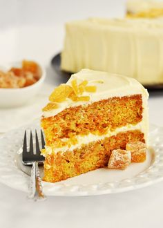 Zingy Orange Ginger Carrot Cake with White Chocolate Icing