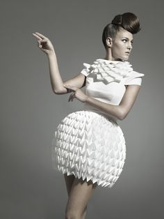 Nintai by Lucia Benitez, via Behance paper dress, honeycomb styling delicate fashion