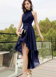 Chic High Low Chiffon Halter Party Dress with Belt, Beautiful Formal Dress Chic High Low Chiffon Halter Party Dress with Belt, Beautiful Formal D – BeMyBridesmaid Casual Formal Dresses, Cute Prom Dresses, Gala Dresses, Elegant Dresses, Homecoming Dresses, Pretty Dresses, Blue Dresses, Beautiful Dresses, Evening Dresses