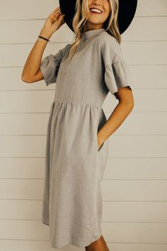 Grey Midi Spring Dress | ROOLEE