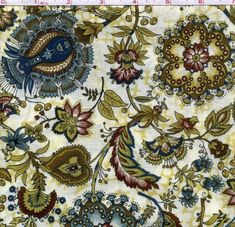 Cotton Quilt Fabric Madison Colonial Flower Hoffman Papyrus White  1/2 Yard - product image