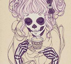 #tea #skull #drawing #girl