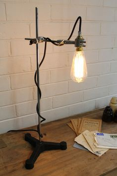 Lab Lamp  Steel rod  cast iron base  Industrial style lab design   FatHandcarved Vintage Lighting   Parks  Vintage and The o jays. The Dapper Llama Menlo Park Lamps. Home Design Ideas