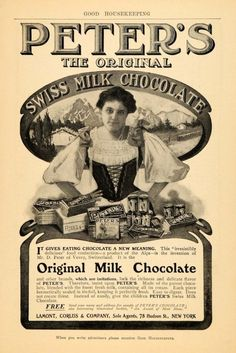 20-Vintage advertisement for Cailler Chocolate, Nestle's premier Swiss brand.