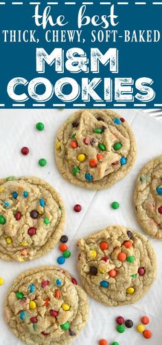 M&M Cookies are thick, chewy, soft-baked, and loaded with miniature m&m's. There are a couple tricks that make these the best m&m cookies. Soft M And M Cookie Recipe, Best M&m Cookie Recipe, Mrs Fields M&m Cookie Recipe, M And M Cookie Recipe Original, Köstliche Desserts, Delicious Desserts, Dessert Recipes, Cokies Recipes, Recipies