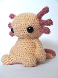 Axolotl Amigurumi Crochet Pattern von MrFox auf Etsy Axolotls, a kind of salamander, are not only cute but also amazing. They never leave their larval stage so retain external gills for life. They can receive Axolotl, Crochet Amigurumi, Amigurumi Toys, Crochet Dolls, Crochet Toys Patterns, Amigurumi Patterns, Stuffed Toys Patterns, Afghan Patterns, Knitting Patterns