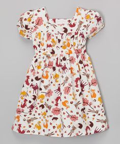 Powell Craft Cream & Brown Woodland Cap-Sleeve Dress - Infant, Toddler & Girls | zulily