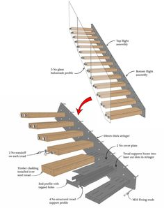 Home Stairs Design, Railing Design, Interior Stairs, Modern House Design, Cantilever Stairs, Staircase Railings, Stairways, Stair Dimensions, Escalier Design