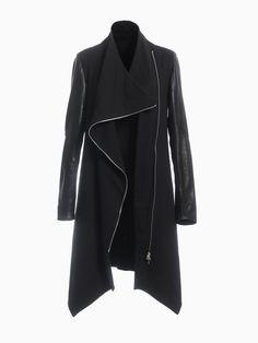 Long Jacket With Leather Sleeves Leather Sleeves, Long Jackets, Hana, Duster Coat, Raincoat, Spring Summer, Fashion, Moda, Fashion Styles