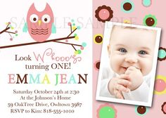 Cute Owl Party Invite