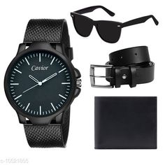 Checkout this latest Analog Watches Product Name: *Black Watch,Wallet,Belt,Sunglass For Men* Date Display: No Dial Design: Solid Dial Shape: Round Display Type: Analog Dual Time: No Gps: No Add On: Wallets Multipack: 1 Sizes:  Free Size Country of Origin: India Easy Returns Available In Case Of Any Issue   Catalog Rating: ★3.9 (4289)  Catalog Name: Attractive Men Watches CatalogID_1922304 C65-SC1232 Code: 313-10521805-807
