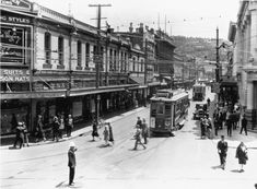 MANNERS Street, - Vance Vivian Ltd is on the front left - * next to Vance Vivian is Mary Garden * then a Ladies Outfitters * tram in front. Manners, New Zealand, Street View, Buses, Sweet, Candy, Busses