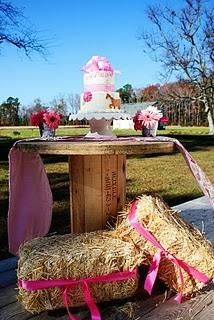 ..ohh! I love the colored ribbon tied around hay bales!!! very cute! also the wooden spool cake table!