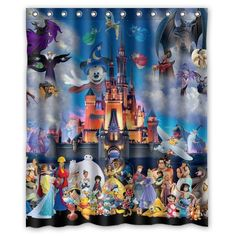 Ohana Stitch Mickey Mouse Castle Polyester Waterproof Shower Curtain 60 X 72