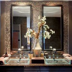 Shiny and stylish, a guest bathroom designed to please! Luxury Interior, Interior Styling, Interior And Exterior, Dream Bath, Home Upgrades, Bathroom Interior Design, Bathroom Designs, Guest Bath, Beautiful Bathrooms