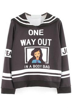 Color-Blocked Graphic Long-Sleeve Sweatshirt