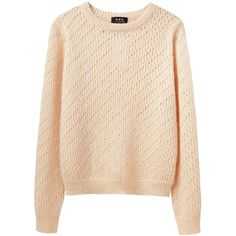 A.P.C. Jenny Sweater ($110) ❤ liked on Polyvore featuring tops, sweaters, shirts, jumpers, long sleeve crew neck shirts, crew neck sweaters, striped shirt, slouchy sweater e beige long sleeve shirt