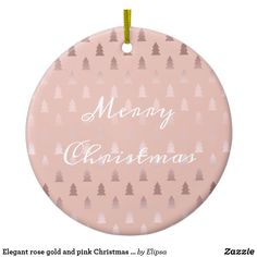 Elegant rose gold and pink Christmas tree pattern Ceramic Ornament